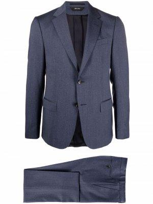 Шерстяной костюм-двойка с однобортным пиджаком Z Zegna. Цвет: синий