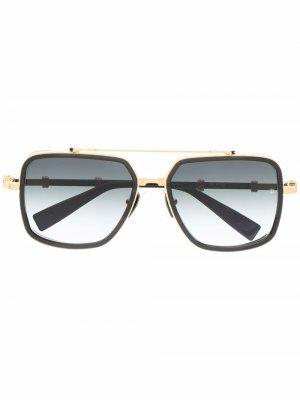 Солнцезащитные очки Officier в круглой оправе Balmain Eyewear. Цвет: черный