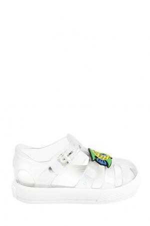 Прозрачные сандалии с аппликацией Dolce&Gabbana Children. Цвет: белый