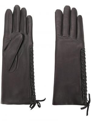 Перчатки со шнуровкой Agnelle. Цвет: серый