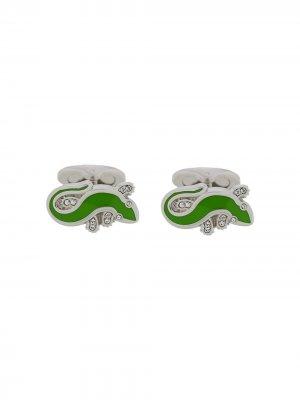 Декорированные запонки в форме ящерицы ETRO. Цвет: серебристый