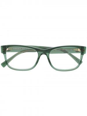 Очки в квадратной оправе Versace Eyewear. Цвет: зеленый