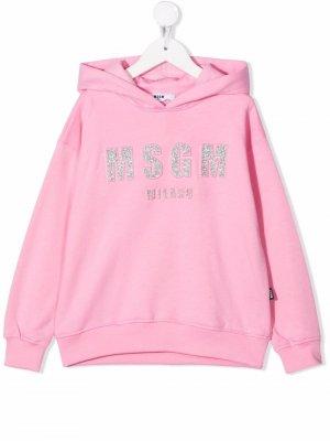 Glitter logo-embroidered cotton hoodie MSGM Kids. Цвет: розовый