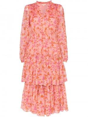 Ярусное платье миди с цветочным принтом byTiMo