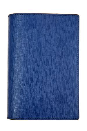 Обложка для паспорта из фактурной кожи ярко-синего оттенка CANALI. Цвет: синий