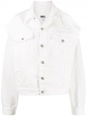 Джинсовая куртка с вырезами MM6 Maison Margiela. Цвет: белый
