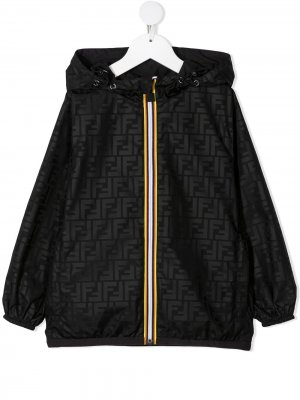 Logo-print hooded jacket Fendi Kids. Цвет: черный