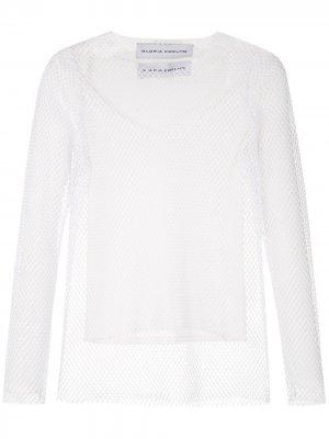 Многослойная сетчатая блузка Gloria Coelho. Цвет: белый