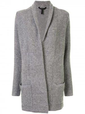 Пальто-кардиган с накладными карманами BCBG Max Azria. Цвет: серый