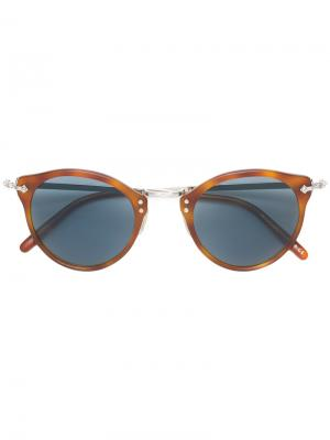 Солнцезащитные очки OP-505 в круглой оправе Oliver Peoples. Цвет: коричневый