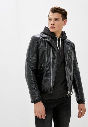 Куртка кожаная Replay. Цвет: черный