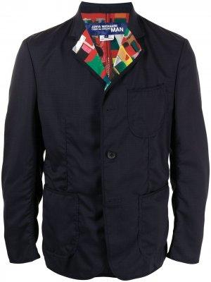 Пиджак с принтом на лацканах Junya Watanabe MAN. Цвет: синий