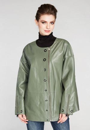 Куртка кожаная Mondial. Цвет: зеленый