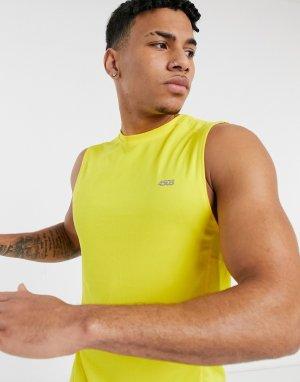 Спортивная футболка из быстросохнущей ткани без рукавов -Желтый ASOS 4505