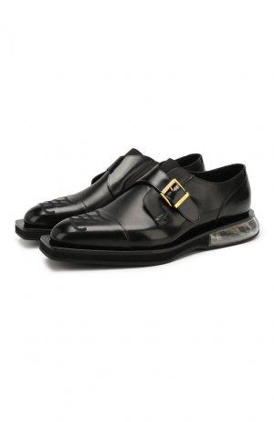 Кожаные монки Fendi. Цвет: черный