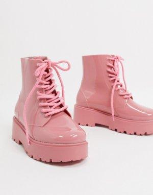 Розовые резиновые сапоги на шнуровке Generate-Розовый ASOS DESIGN