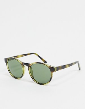 Круглые солнцезащитные очки в зеленой черепаховой оправе -Зеленый цвет A.Kjaerbede