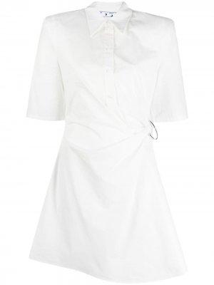 Короткое платье-рубашка со сборками Off-White. Цвет: белый
