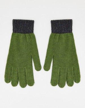 Вязаные перчатки цвета хаки в стиле колор блок, рубчик -Зеленый цвет Boardmans