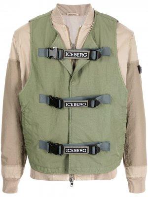 Куртка-бомбер со вставками Iceberg. Цвет: зеленый