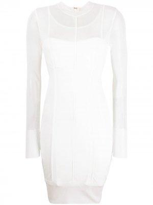 Полупрозрачное платье мини Hervé Léger. Цвет: белый