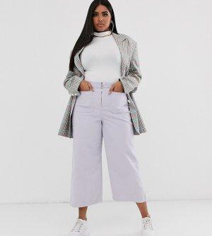 Укороченные расклешенные брюки из мелкого вельвета с молнией -Фиолетовый See You Never Plus