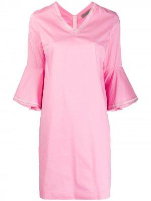 Платье с оборками на рукавах D.Exterior. Цвет: розовый