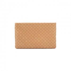 Кожаный футляр для документов Bottega Veneta. Цвет: бежевый