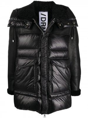 Стеганая куртка с рукавами из овчины Drome. Цвет: черный