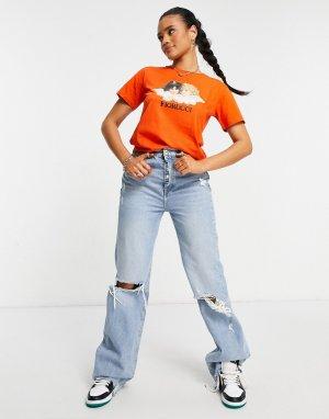 Оранжевая футболка с ангелами в винтажном стиле -Оранжевый цвет Fiorucci