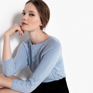 Пуловер ажурный с укороченными рукавами LA REDOUTE COLLECTIONS. Цвет: розовый пастельный,слоновая кость