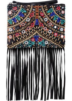 Клатч с бусинами, зеркальцами и бахромой (черный) bonprix. Цвет: черный