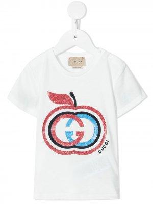 Футболка с логотипом Gucci Kids. Цвет: белый