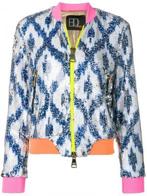 Куртка-бомбер с пайетками Bazar Deluxe. Цвет: белый