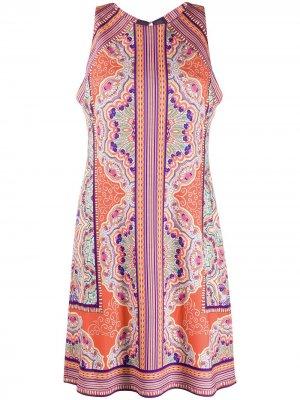 Платье-трапеция без рукавов с узором пейсли Hale Bob. Цвет: оранжевый