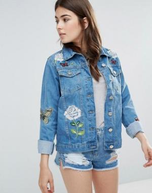 Джинсовая куртка с вышивкой Je Taime Parisian. Цвет: синий