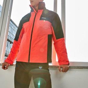 Мужская контрастная утепленная куртка ветровка на молнии SHEIN. Цвет: арбузный розовый