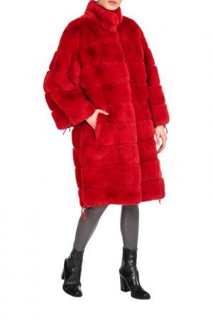 Fur coat Manakas. Цвет: red