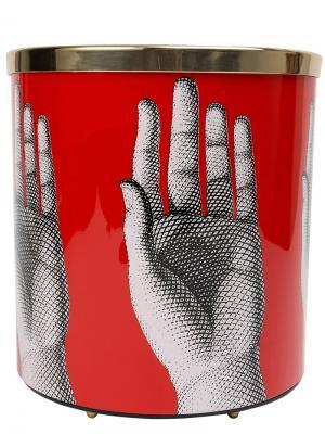 Мусорная корзина с принтом рук Fornasetti. Цвет: красный