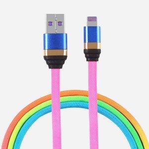 Контрастный кабель для передачи данных iPhone 1шт SHEIN. Цвет: многоцветный