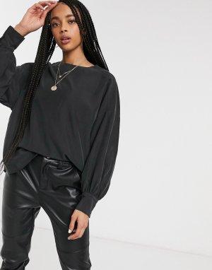 Черная блузка с объемными рукавами -Черный Monki