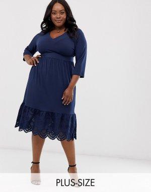 Платье миди с вышивкой ришелье -Темно-синий Junarose