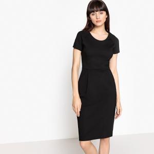 Платье офисное однотонное с застежкой на молнию сзади La Redoute Collections. Цвет: черный