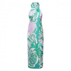 Шелковое платье Emilio Pucci. Цвет: разноцветный