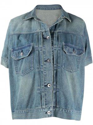 Джинсовая куртка с короткими рукавами Sacai. Цвет: синий