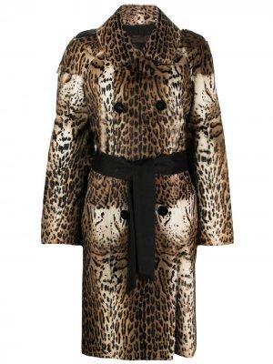 Длинное пальто с анималистичным принтом Liska. Цвет: нейтральные цвета