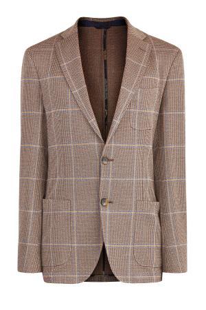 Пиджак из плотного хлопка в неаполитанском стиле ETRO. Цвет: коричневый