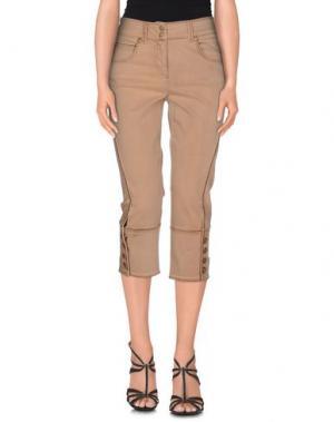 Джинсовые брюки-капри ANGELO MARANI. Цвет: песочный