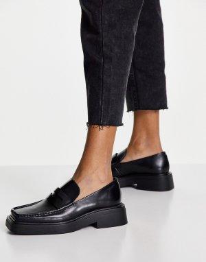 Черные кожаные лоферы на плоской подошве Eyra-Черный цвет Vagabond