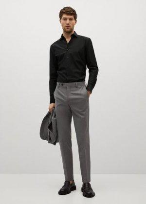 Костюмная рубашка slim fit из хлопка - Emeritol Mango. Цвет: черный